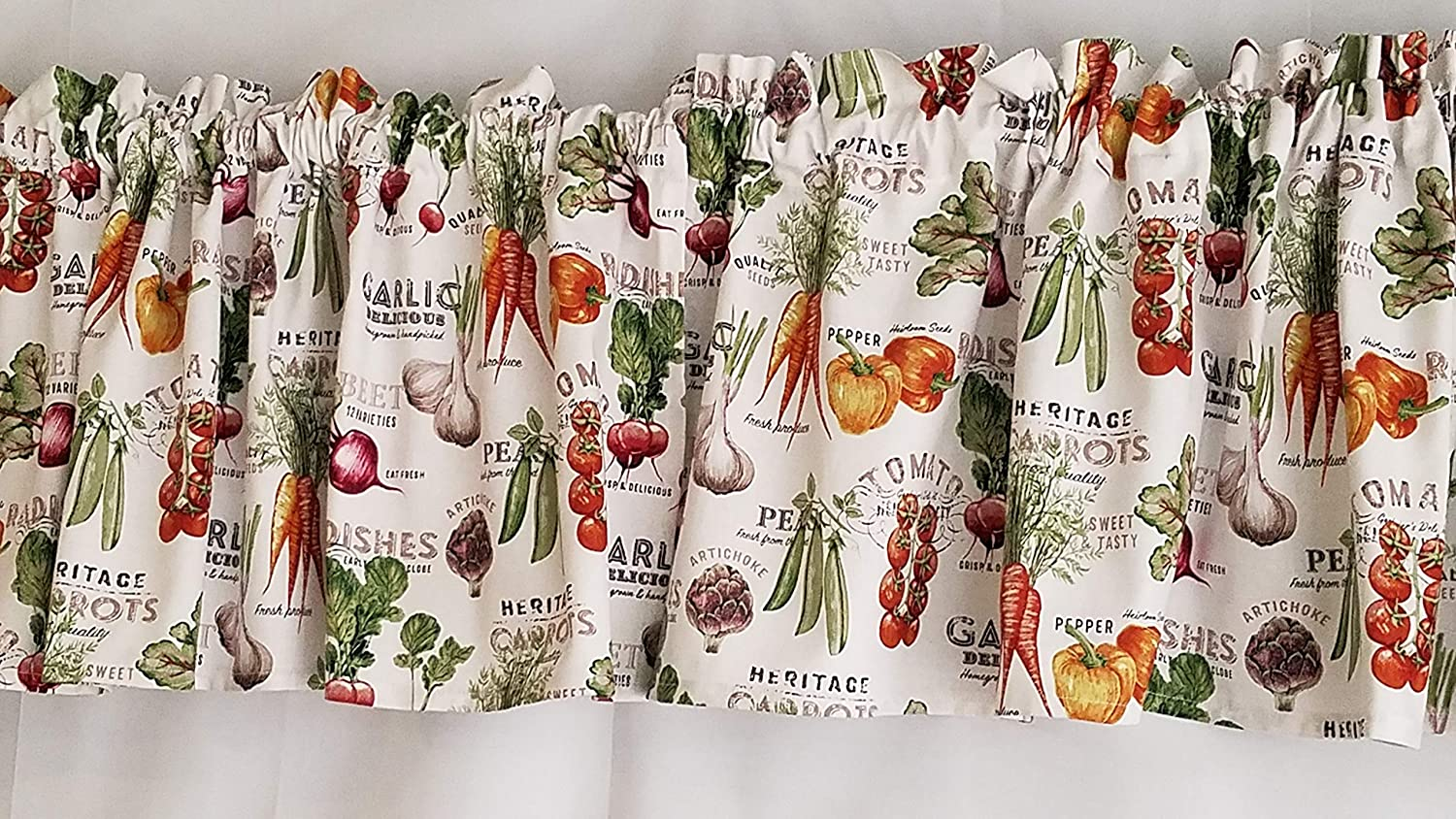 Vegetable Kitchen Curtain Farm Fresh Kitchen Curtain Farm Themed Kitchen Curtain Tomatoes Carrots Bell Peppers Kitchen Curtain White Kitchen Curtain 42 43 Inches Wide X 15 Inches Long Handmade