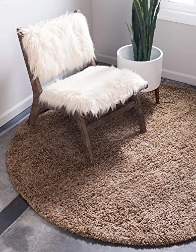 Unique Loom Solo Solid Shag Collection Modern Plush Sandy Brown Round Rug 8 2 x 8 2