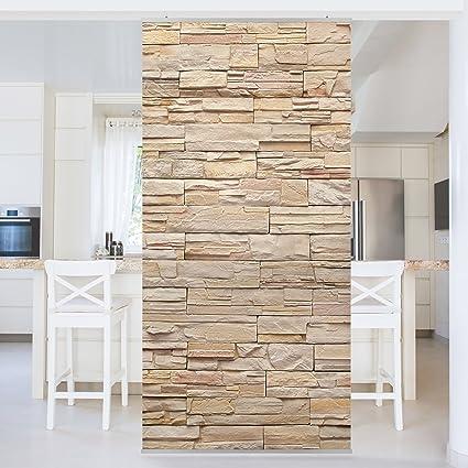 panel japones asian stonewall large brigth stone wall of cosy stones 250x120cm paneles japoneses - Cortinas Separadoras De Ambientes