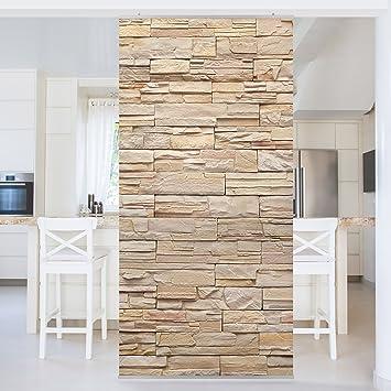 Schiebevorhänge Als Raumteiler flächenvorhang set stonewall große helle steinmauer aus