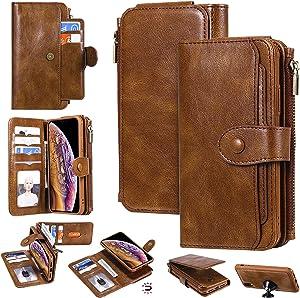 iPhone Xr Wallet Case,Yikatu 6.1 Inch Leather Wallet Phone Case for Women & Men,2 in 1 Zipper Detachable Folio Flip Cover Card Slots Money Pocket Clutch for iPhone Xr(Brown)