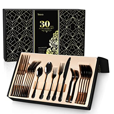 Teivio 30-Piece Silverware Set, Black Flatware Set Mirror Polished, Service for 6, Include Knife/Fork/Spoon with Gift Box