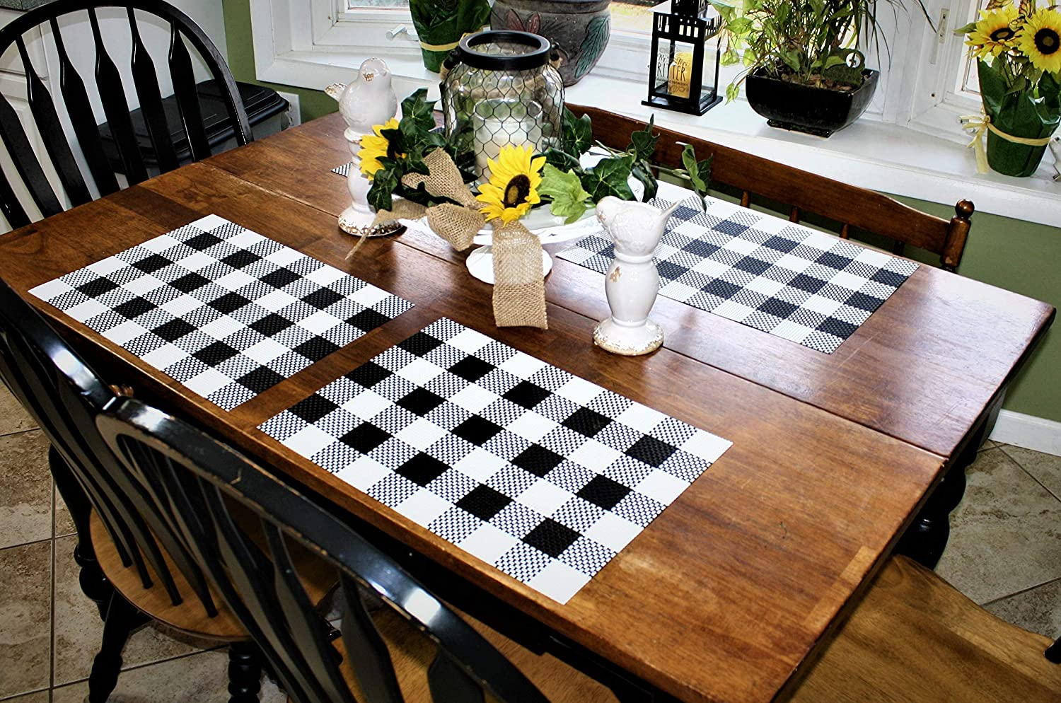 "Placemats Black and White Farmhouse Style Dishwasher Safe Thick, Strong & No Fraying No More Washing and Ironing Heat, Fade and Crease Resistant 70% Vinyl & 30% Polyester 12.5"" x 17.5"""