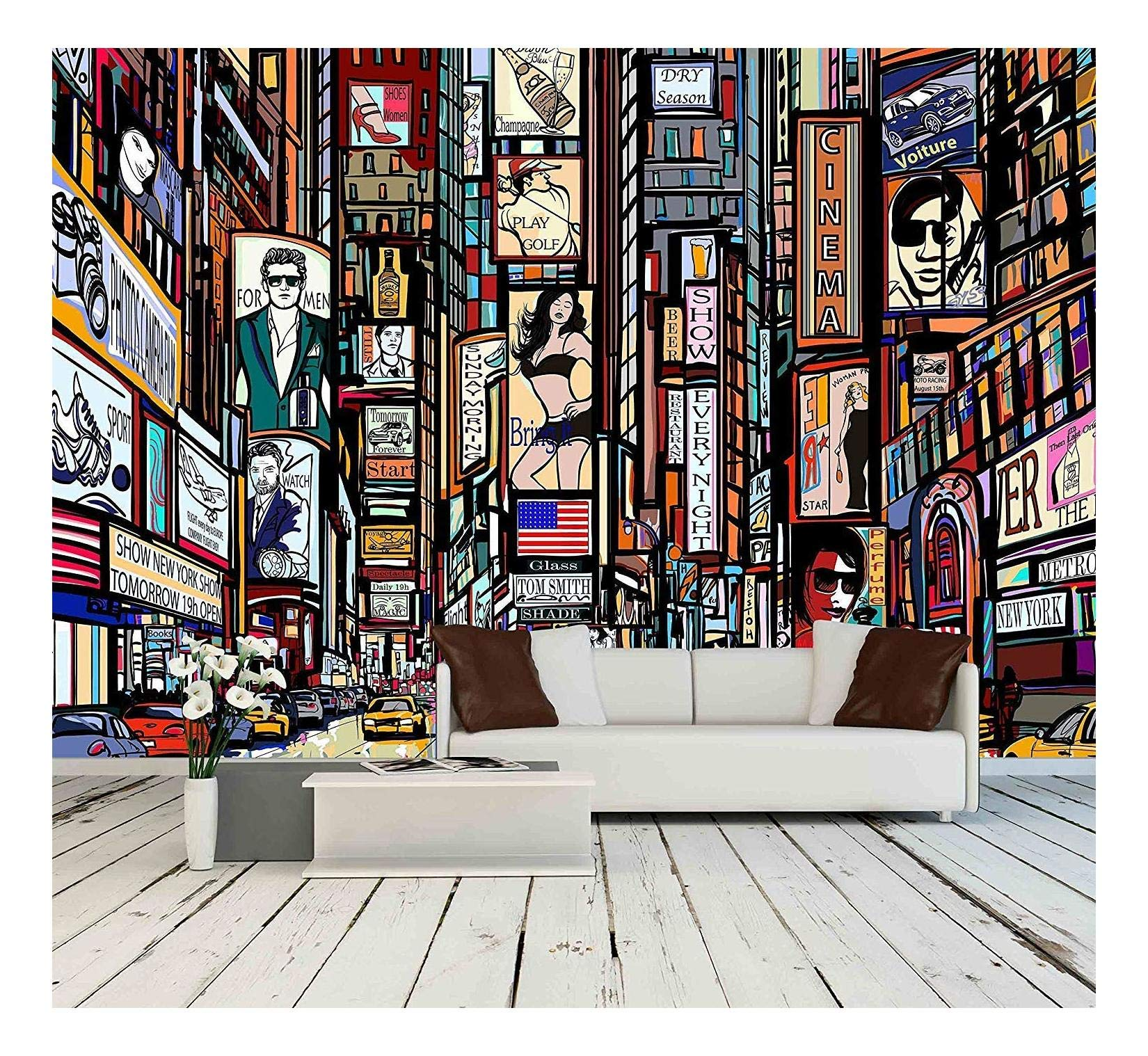 wall26 - Illustration of a Street in New York City - Removable Wall Mural | Self-Adhesive Large Wallpaper - 100x144 inches by wall26 (Image #1)