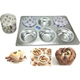 Rolex Aluminium Muffin Bakeware Tray Round for 6 Muffins + Free Pack of 100 pcs Flair Paper Cups, 9 cm