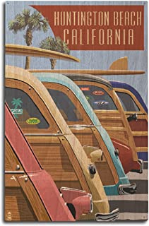 product image for Lantern Press Huntington Beach, California - Woodies Lined Up (10x15 Wood Wall Sign, Wall Decor Ready to Hang)