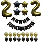 22th Birthday Party Balloons Kit, 22 Year Old Bday Gold Number Balloons, Happy Birthday Decoration Banner