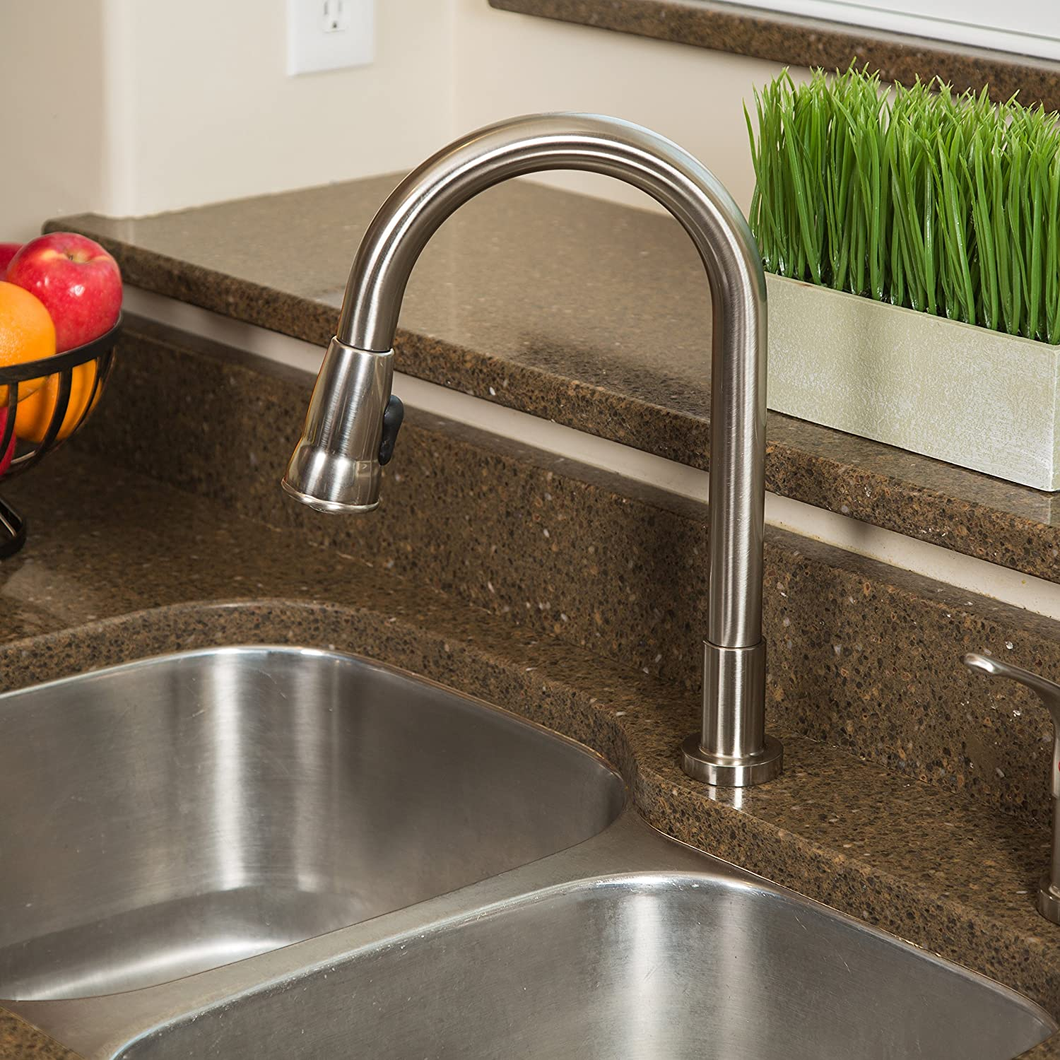 Pacific S Kitchen Faucets Pacific Bay Grandview Pull Down Kitchen Faucet With Soap Dispenser