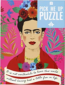 Talking Tables 500-piece Pink Colorful Frida Kahlo Portrait Quote Jigsaw Puzzle & Poster   Illustrated   Rainy Day, at Home, Lockdown, Birthday Present, Boho, Wall Art