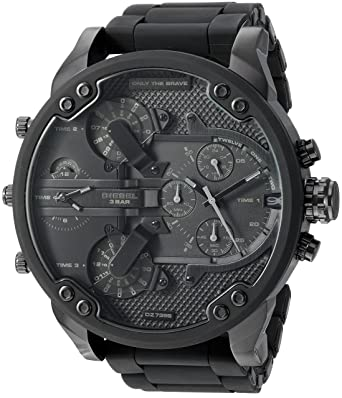 c9eef69fcc750 Amazon.com: Diesel Men's Mr Daddy 2.0 Quartz Stainless Steel and Silicone  Chronograph Watch, Color: Black (Model: DZ7396): Diesel: Watches