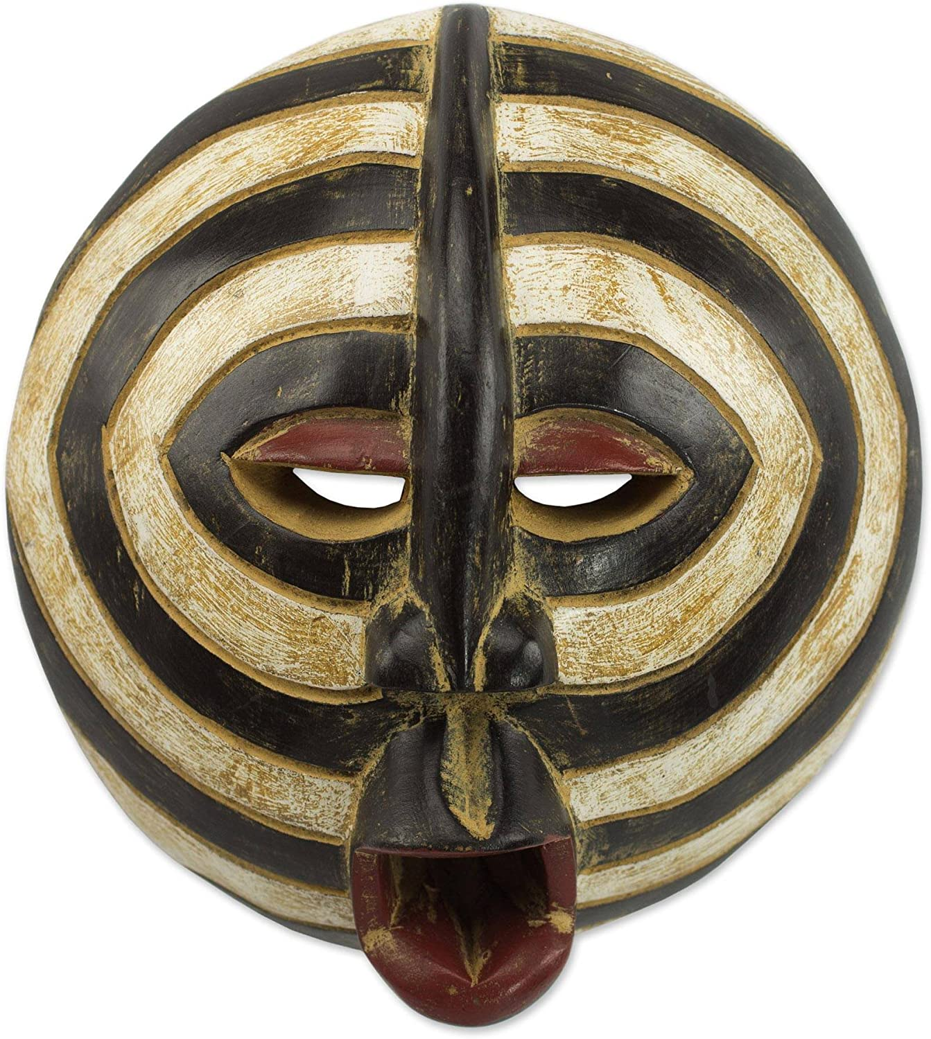 NOVICA Ghanaian Hand Carved Painted Black and White Sese Wood Wall Mask, Baluba Rings'