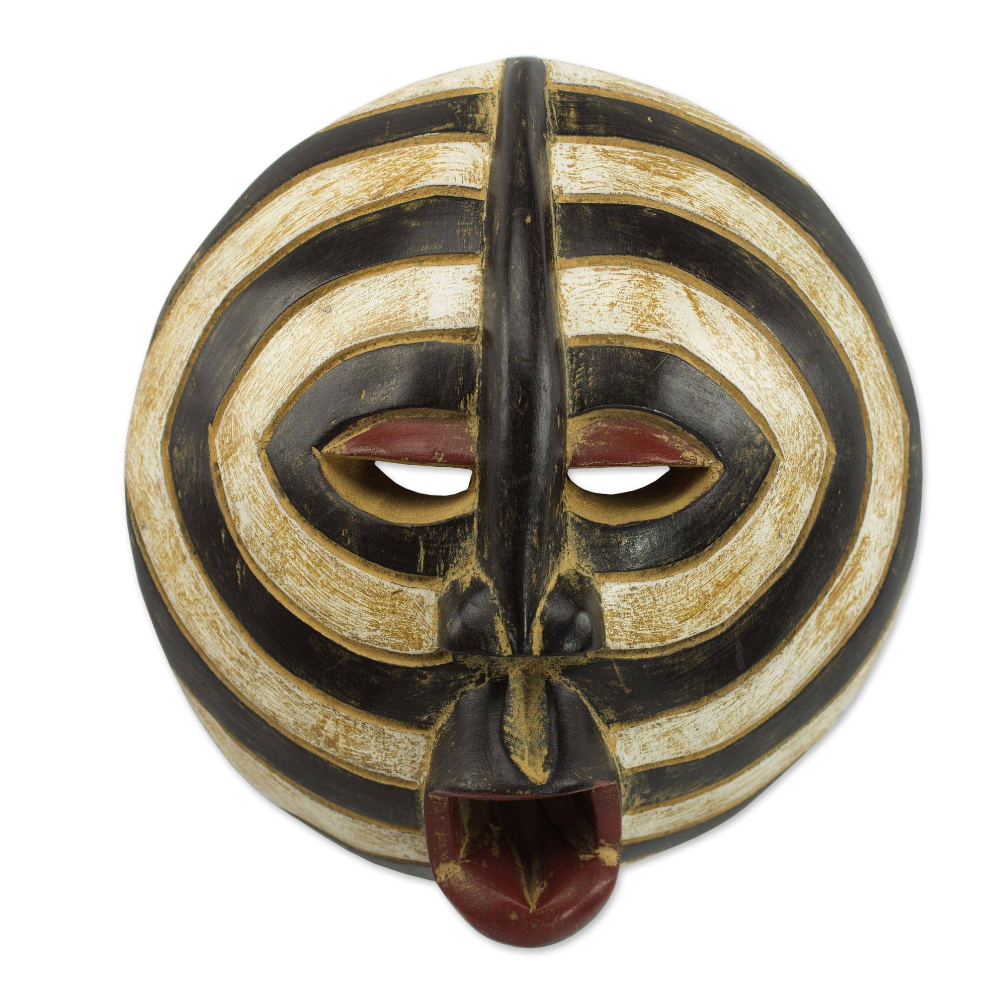 NOVICA Ghanaian Hand Carved Painted Black and White Sese Wood Wall Mask, 'Baluba Rings' by NOVICA