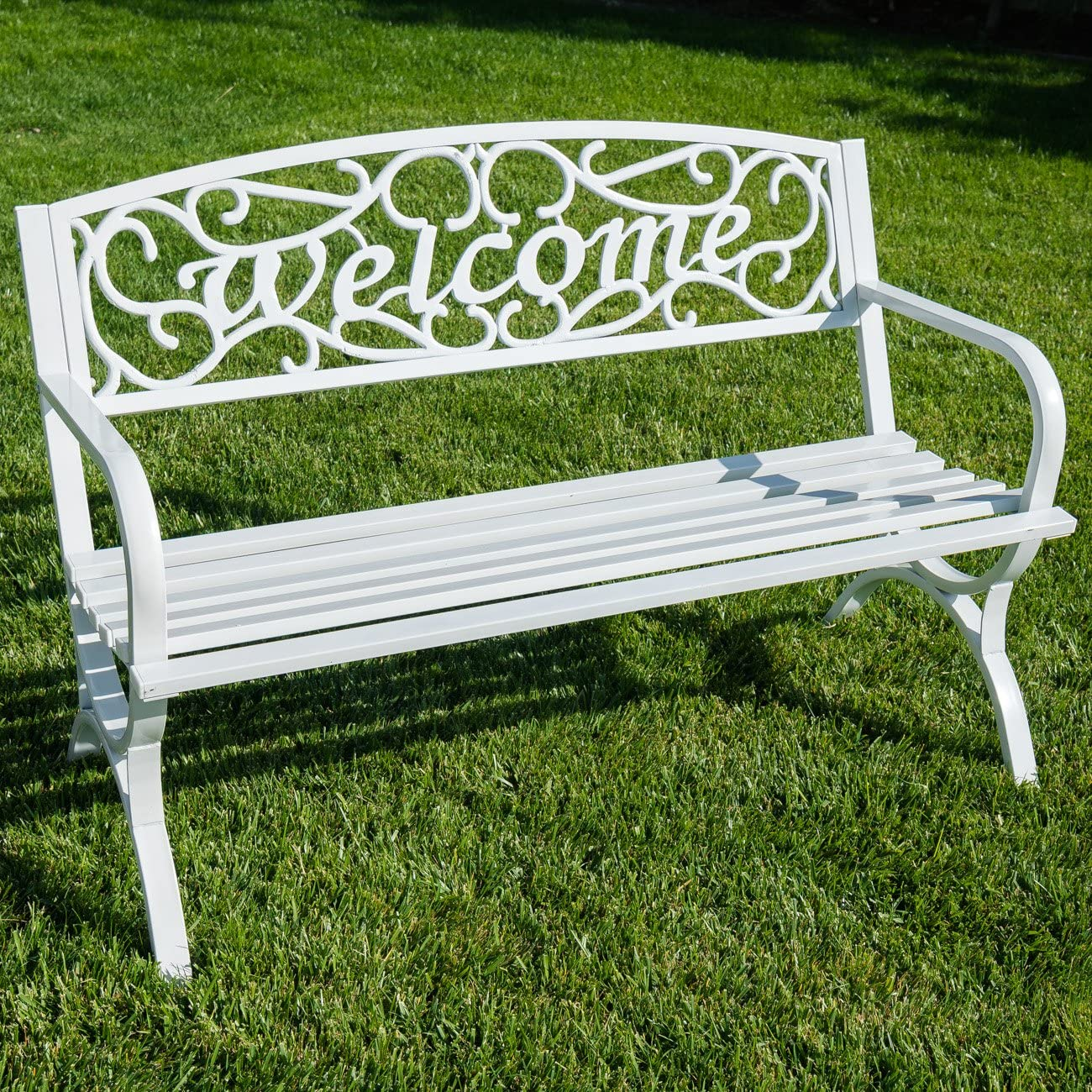 BELLEZE Outdoor Park Bench 50 inch Welcome Elegance Design Seat Backyard Steel Frame
