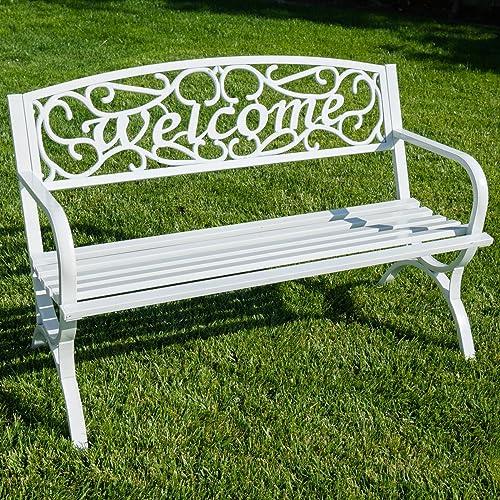 BELLEZE Outdoor Park Bench 50″ inch Welcome Elegance Design Seat Backyard Steel Frame