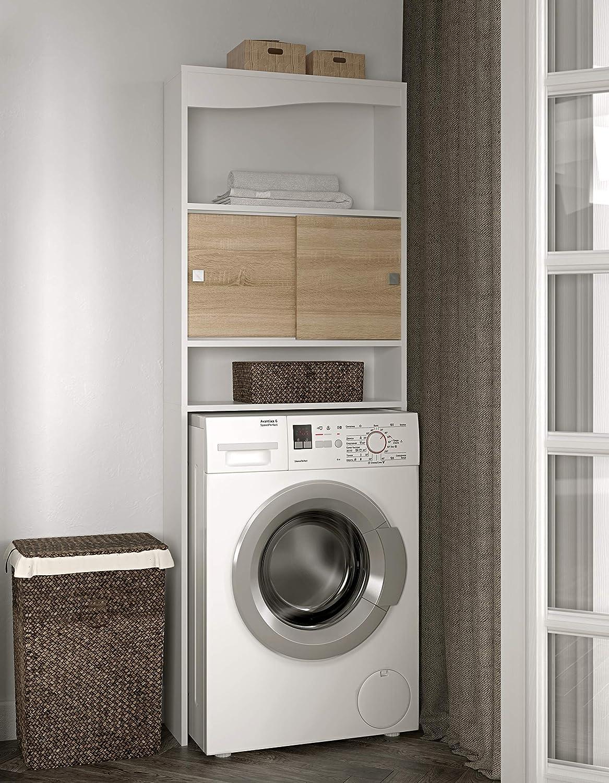 Temahome Wave mueble para lavadora, rojas, Melamina, blanco y roble, 96 x 43,1 x 12 cm