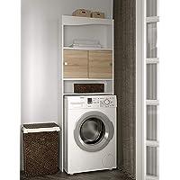 Mueble para lavadora, rojas, Melamina, blanco y roble, 96 x 43,1 x 12 cm