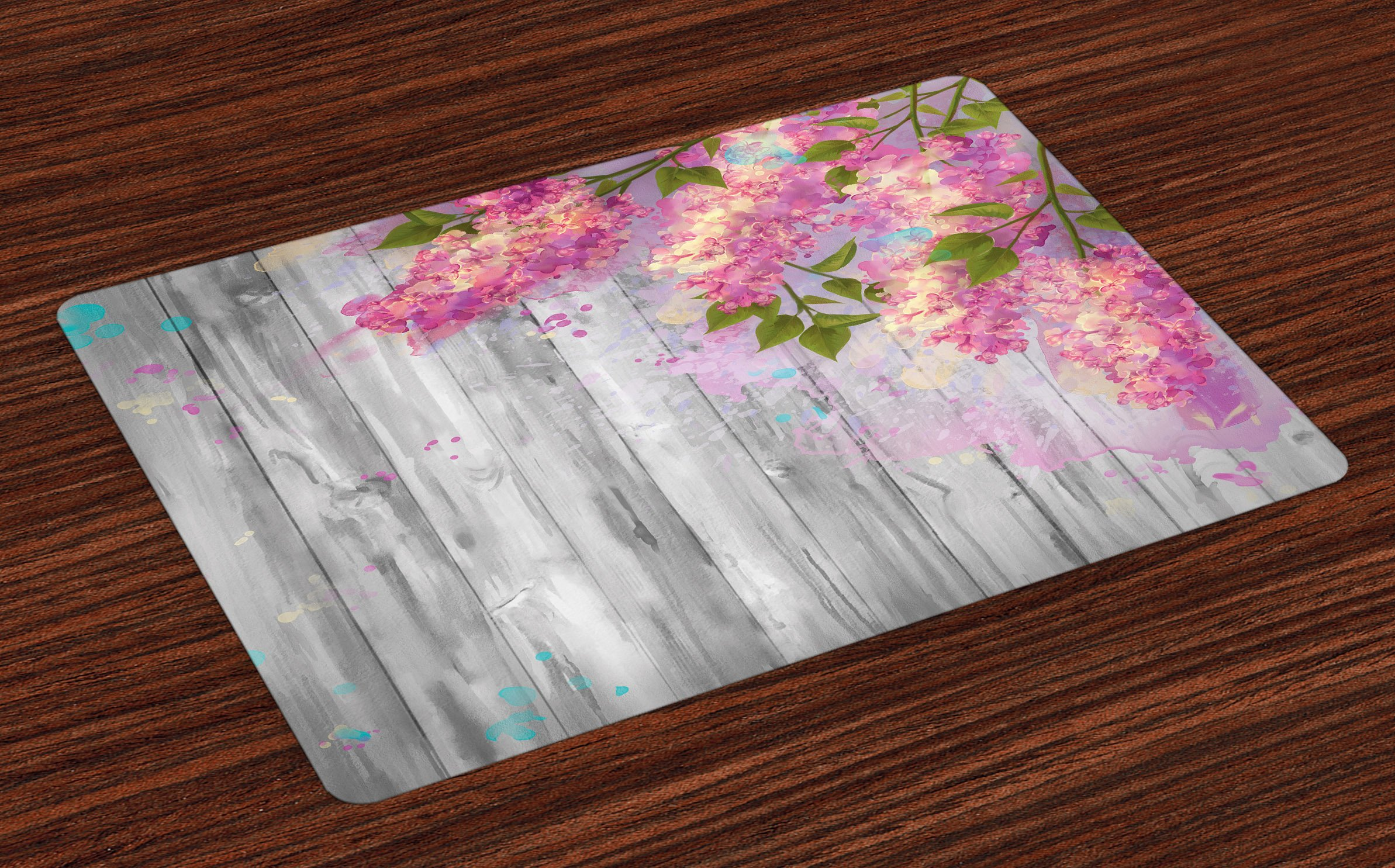 Lunarable Flower Place Mats Set of 4, Floral Watercolor Style Effect Branches of Lilac Bloom on Wood Print Background, Washable Fabric Placemats for Dining Room Kitchen Table Decor, Grey and Pink