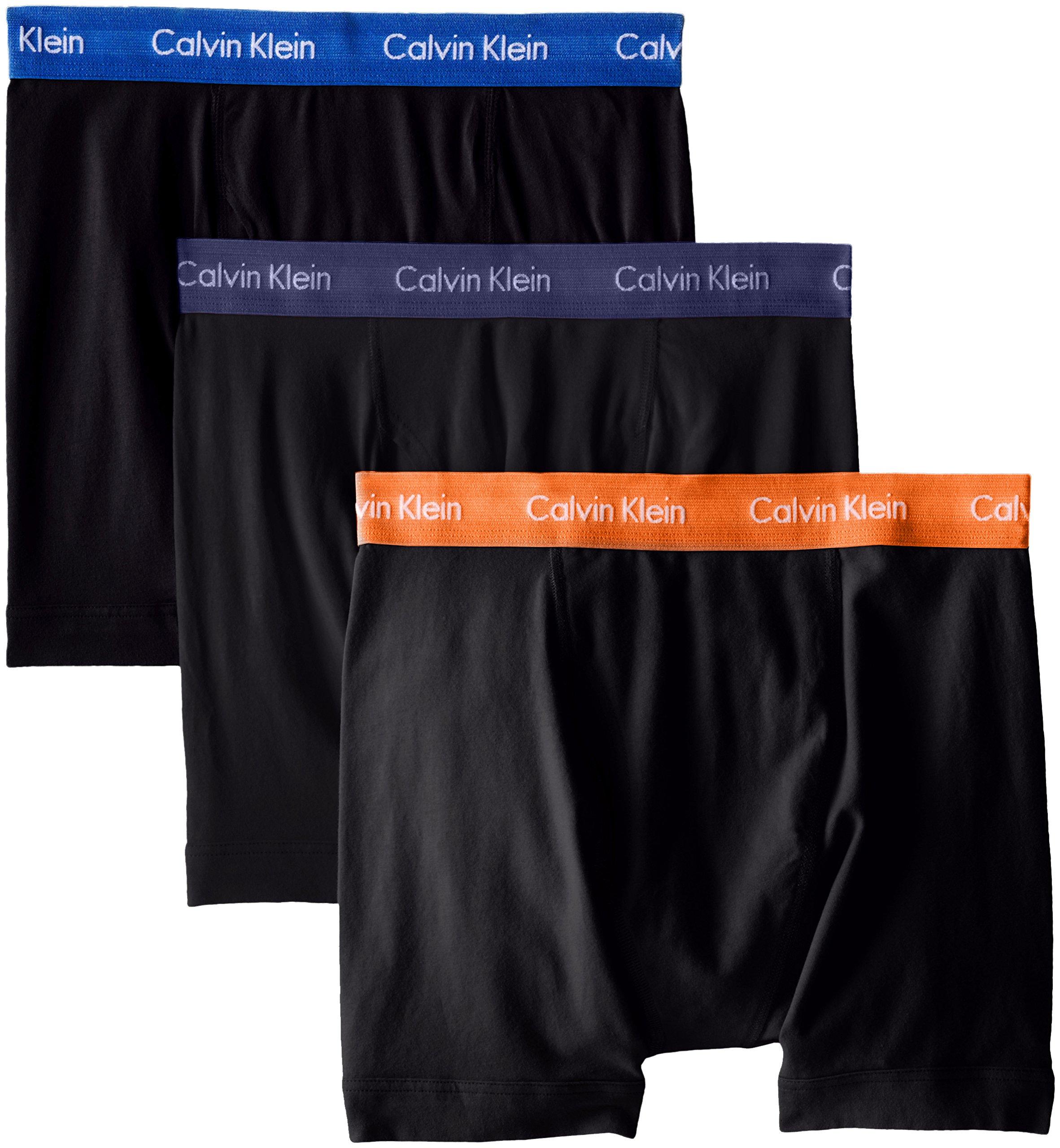 Calvin Klein Men's Underwear Cotton Stretch 3 Pack Boxer Briefs, Black/Muscari Blue/Blue Ribbon/Deep Sunset, Medium