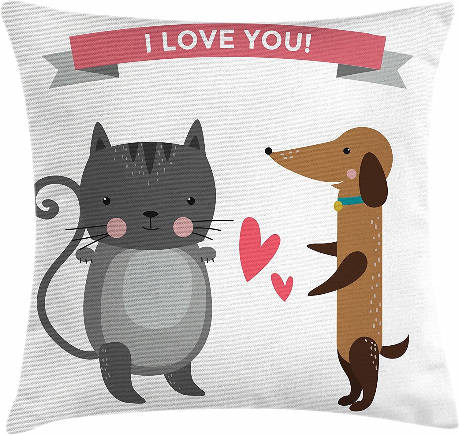 Amazon Com Lunarable Animals Throw Pillow Cushion Cover Cat And Dog Enemy Love Story Bonds Passion Affection Animals Decorative Square Accent Pillow Case 28 X 28 Charcoal Grey Umber Dark Coral Home