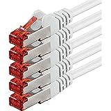 1m - Blanc - 5 pièces - CAT6 Câble Ethernet Set - Câble Réseau RJ45 10/100 / 1000 Mo/s câble de Patch LAN Câble |Cat 6 S-FTP PIMF 250 MHz Compatible avec Cat 5 / Cat 6a / Cat 7