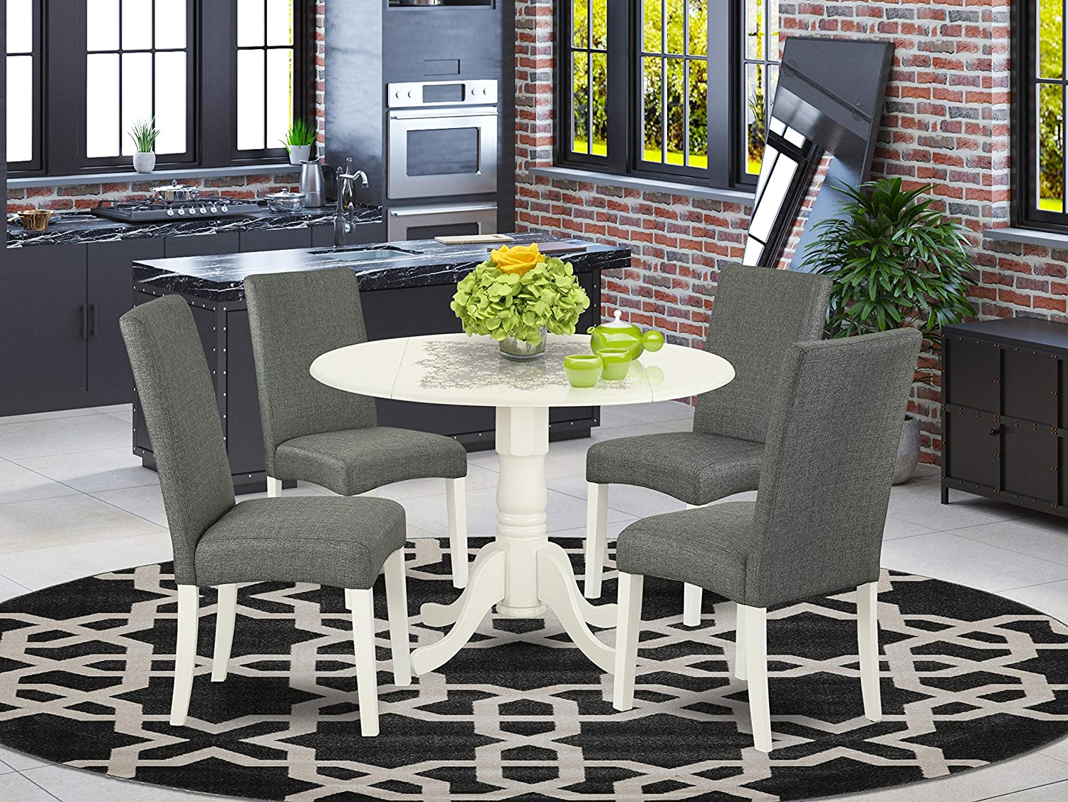 Home & Kitchen Table & Chair Sets Grey Linen Fabric Parsons Dining ...