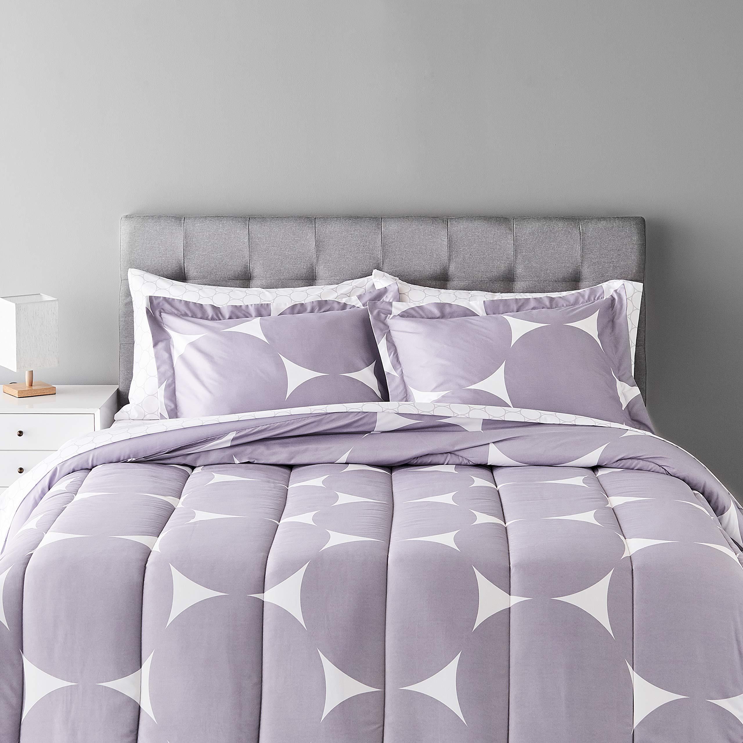 Amazon Basics 7-Piece Light-Weight Microfiber Bed-In-A-Bag Comforter Bedding Set - Full/Queen, Purple Mod Dot