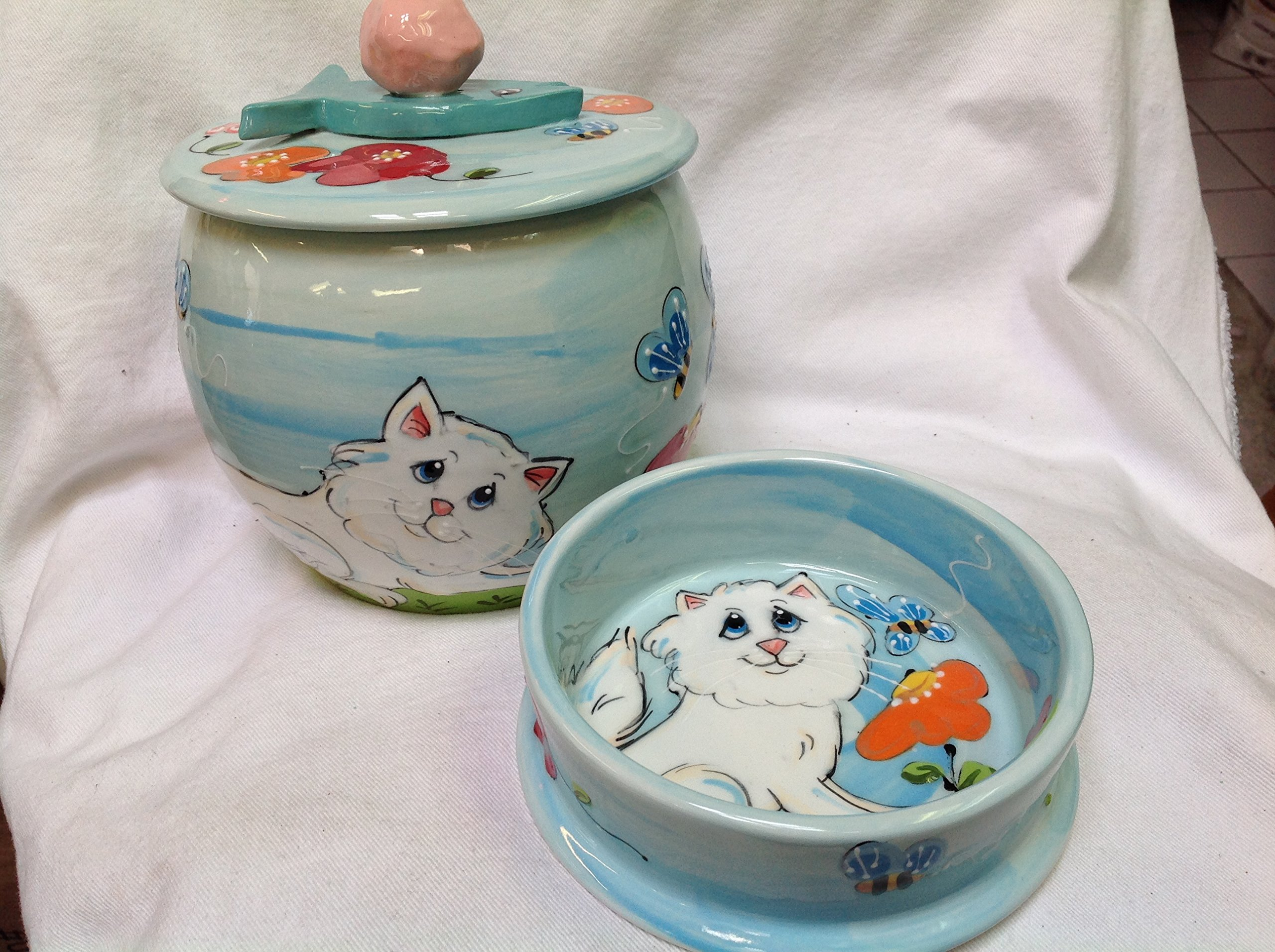 6'' Cat Bowl for Food or Water and Treat Jar. Personalized at no Charge. Signed by Artist, Debby Carman.