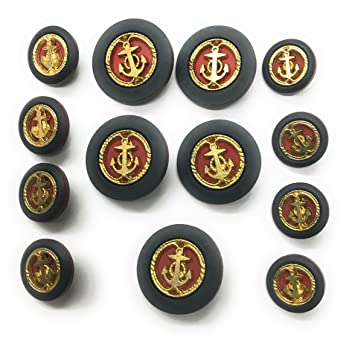 Amazon com: Navy Gold Anchor Buttons Sets on Red for Sport