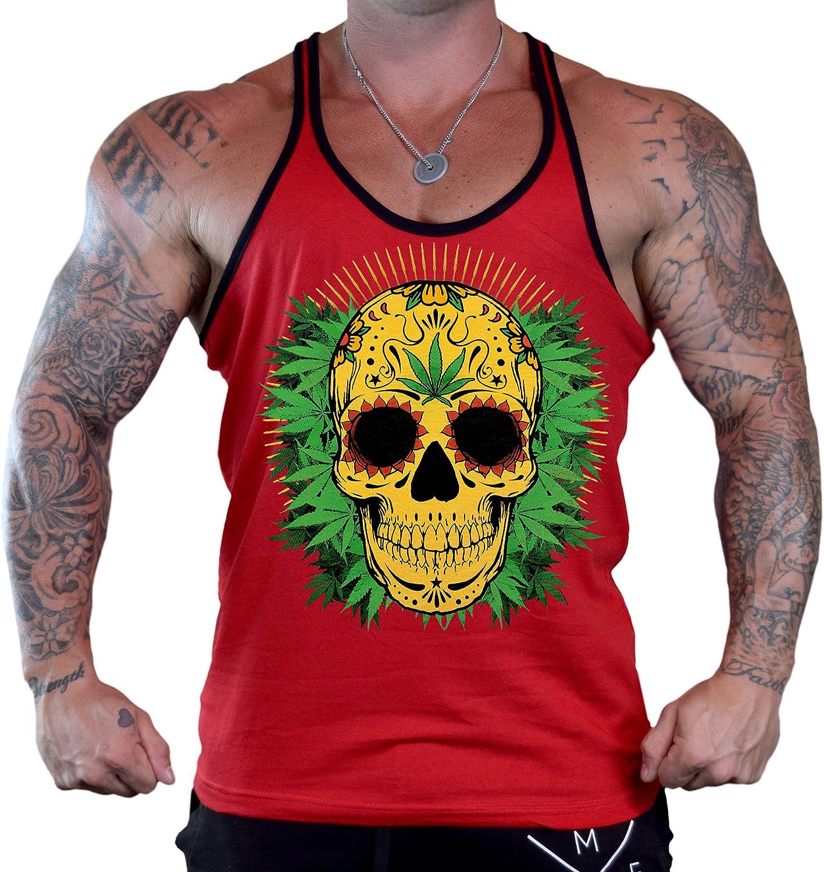 Mens 420 Yellow Sugar Skull Tee Red Stringer Tank Top