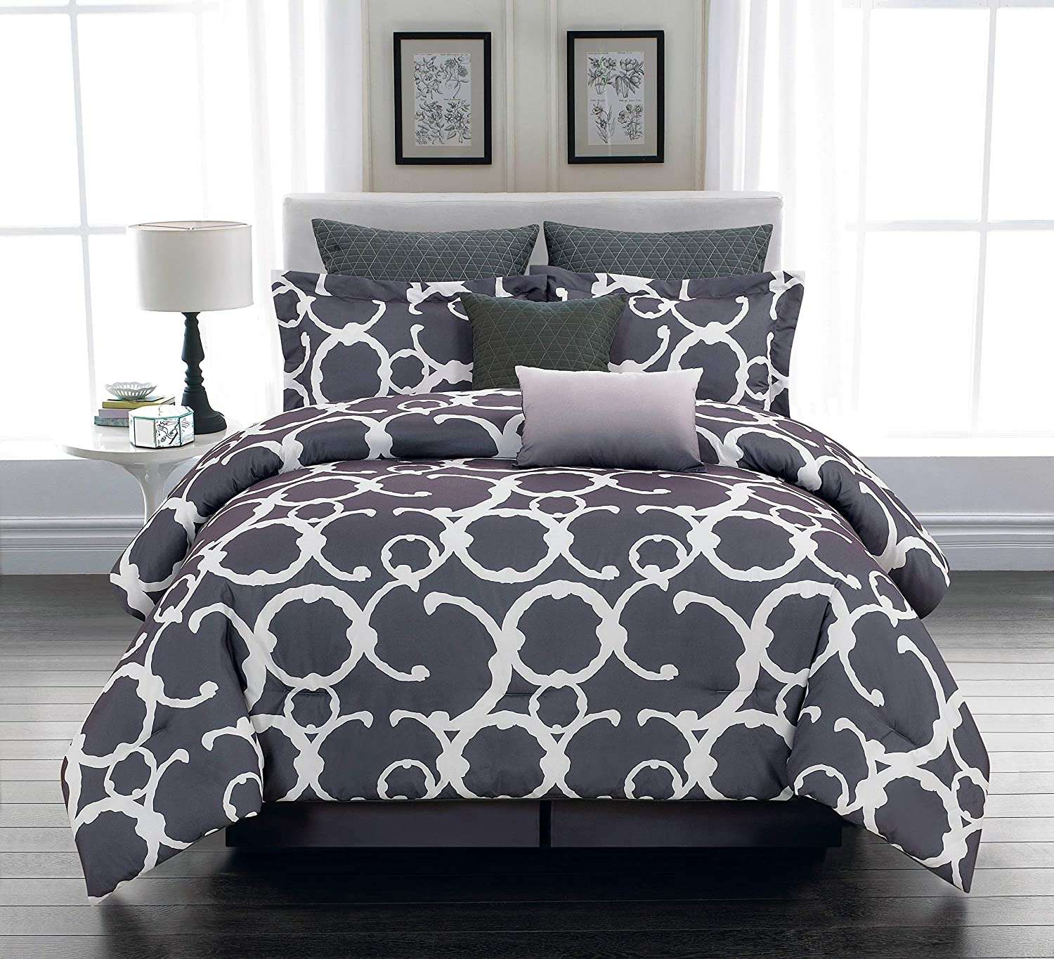Home Maison Rhys Hotel Quality Luxury Comforter Duvet Insert Cover Hypoallergenic   10 Piece Set   Geometric Collection, Queen, Grey