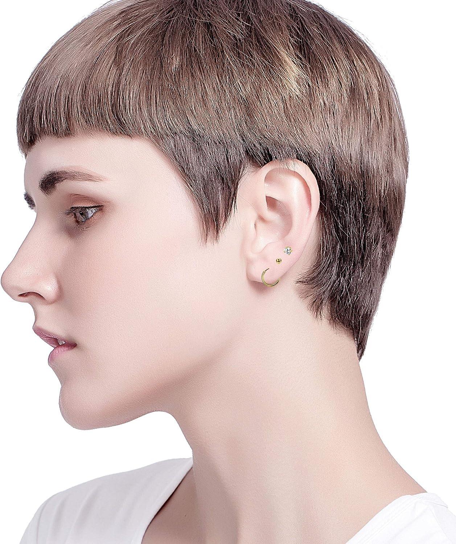 Milacolato In Acciaio Inox 2mm Piccoli Orecchini a Bottone per le donne Mens Cerchi Senza CZ Balls Orecchini a Forma di Cartilagine 20G