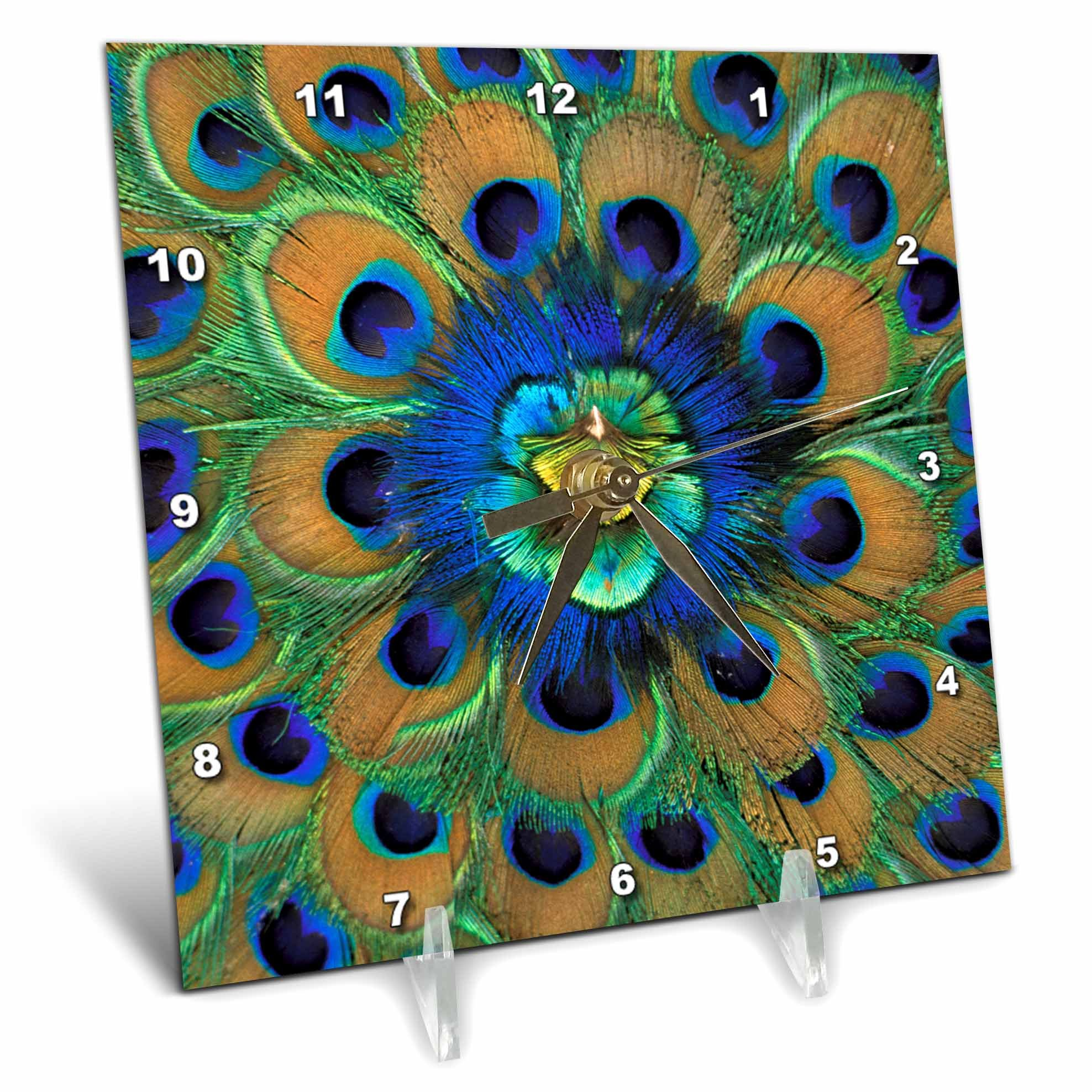 3dRose dc_73909_1 Natural Peacock Feather Patterns, India-AS10 DFR0096-David R. Frazier-Desk Clock, 6 by 6-Inch