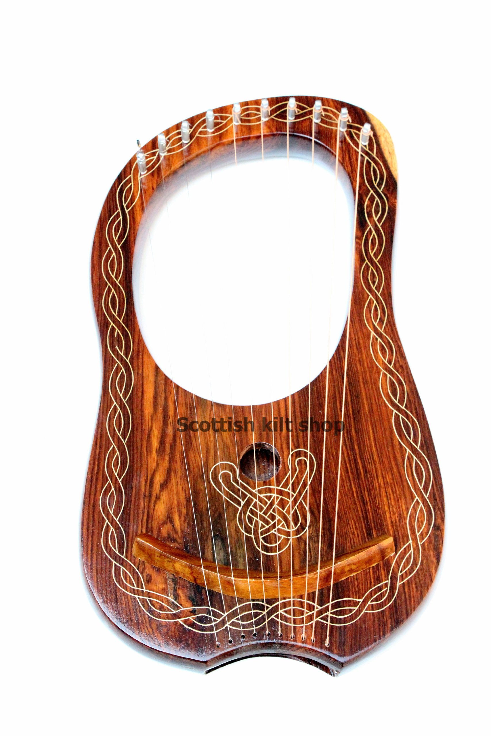 Lyre Harp, 10 String Handmade Engraved Rosewood by Bfigure