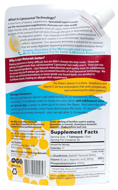Amazon.com: Lipo Naturals Liposomal Glutathione Antioxidant Complex 15oz | 100% China-Free | No Artificial Preservatives | No Soy | 30 Doses (15oz) ...