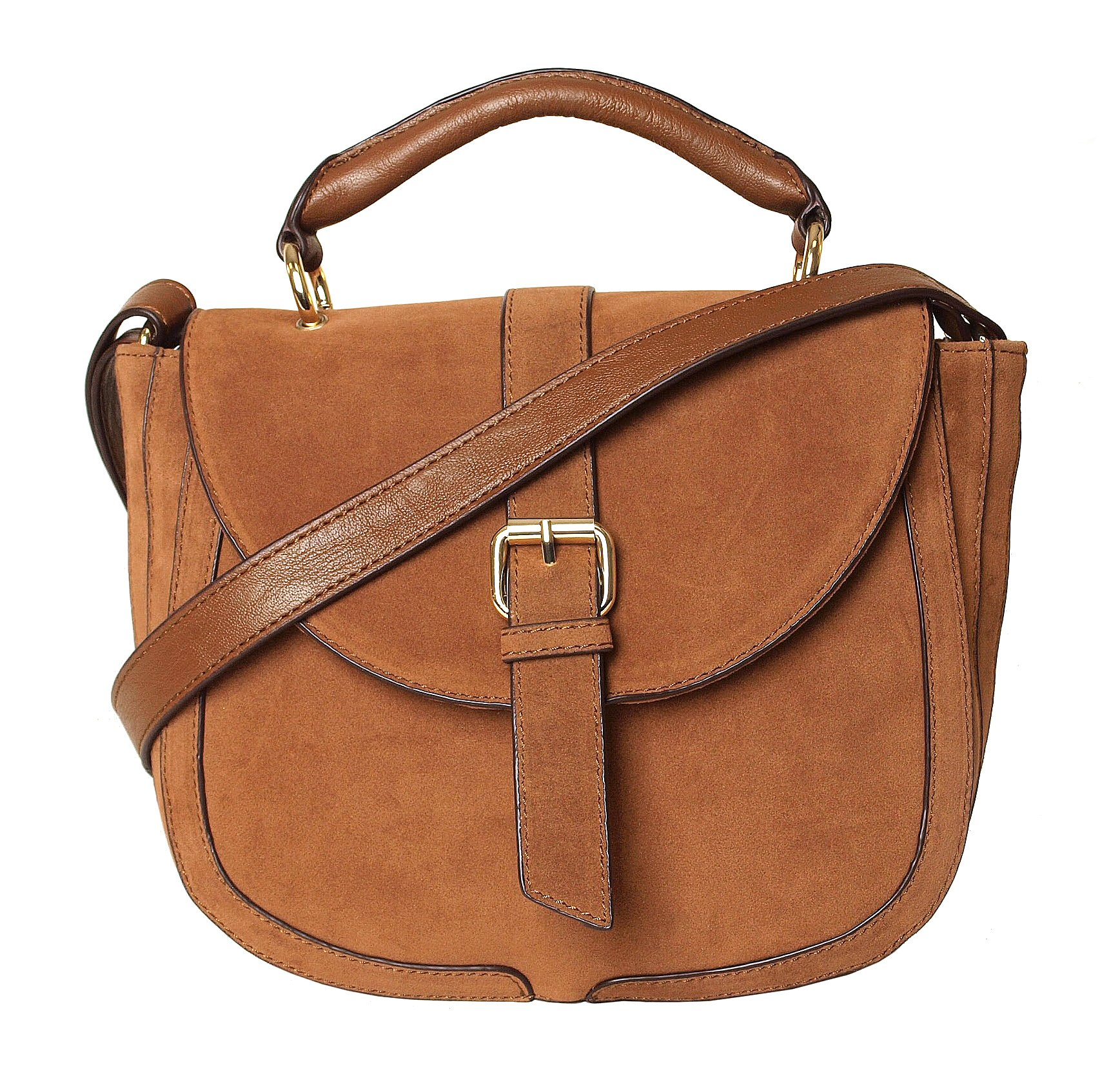 Imoshion Women's Genuine Tan Faux Suede Saddle Satchel Crossbody Bag With Short Handle And Wide Adjustable Shoulder Strap With Flap Magnetic Closure