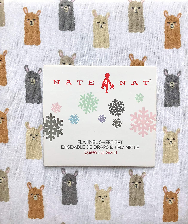 Nate /& NAT 4 Piece Cotton Flannel Queen Size Sheet Set Happy Llama Heads Faces Beige Gray Brown