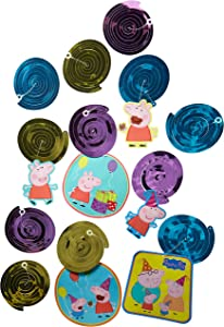 American Greetings Peppa Pig Hanging Swirl Decorations, 12-Count