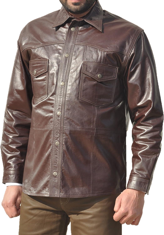 Muy Alta Calidad Piel Camisa de hombre piel Camisa Mujer 100% de piel), color marrón: Amazon.es: Coche y moto