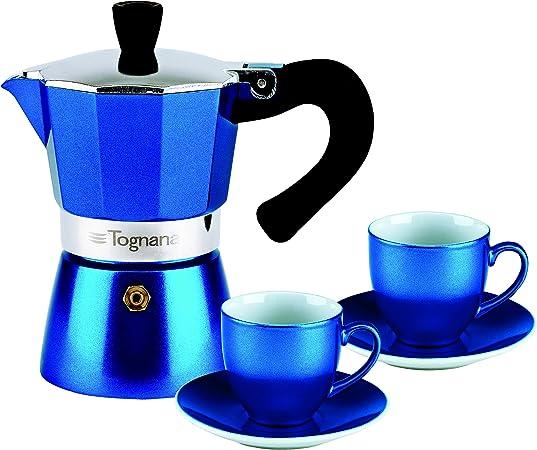 Cafetera para espresso (con 2 tazas de porcelana, en azul metalic ...