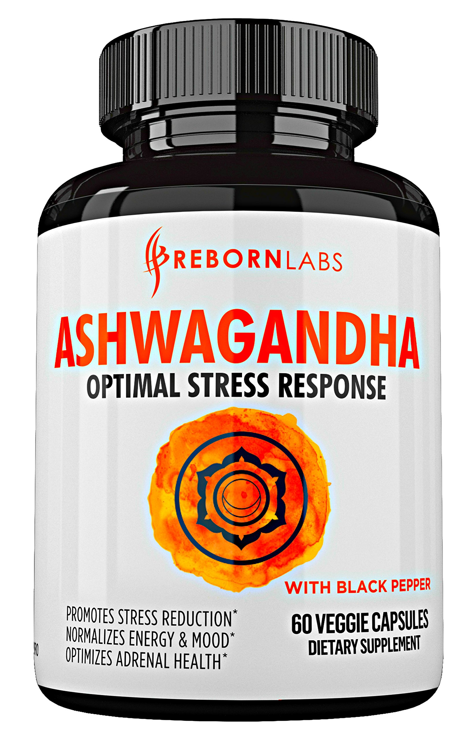 Ashwagandha Capsules 1300mg for Stress Relief, Thyroid Support, Anti Anxiety, Mood & Adrenal Support | 60 Veggie Capsules | with Black Pepper Extract | Extra Strength Root Powder Supplement by Reborn Labs