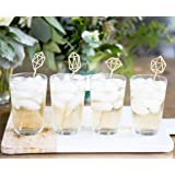 Stir Stick Set, Wedding Bachelorette Bridal Shower Party Drink Stirrer Gem Stone Bar Decorations for Wedding Decor Gold