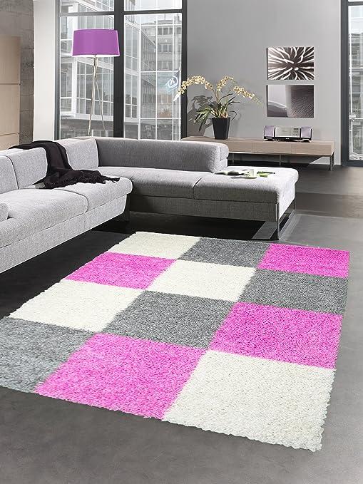 CARPETIA Shaggy Teppich Hochflor Langflor Bettvorleger Wohnzimmer Teppich  Läufer Karo pink rosa grau Creme Größe 120x170 cm