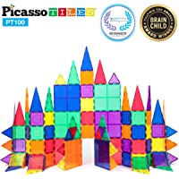 PicassoTiles 100 piece set Magnet Building Tiles Clear 3D color Magnetic Building Tiles - Creativity beyond Imagination! - Educational, Inspirational, Conventional, and Recreational!