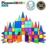 PicassoTiles 100 Piece Set 100pcs Magnet Building Tiles Clear Magnetic 3D Building Blocks Construction Playboards, Creativity beyond Imagination, Inspirational, Recreational, Educational Conventional