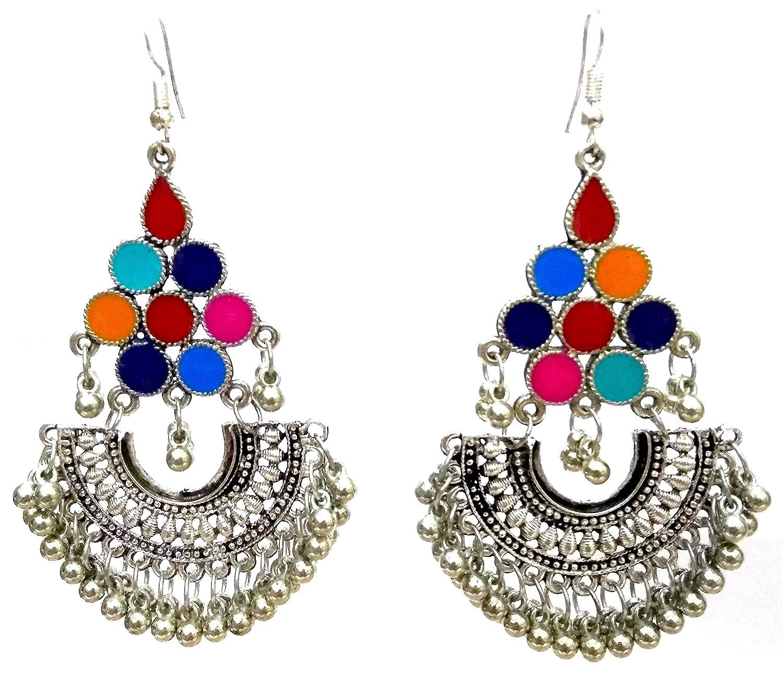 DESI HAWKER Silver Oxidized Earring Bali Jhumki Jhumka Jewelry Bollywood Drop Dangle Long Chandbali Afghani NI-143