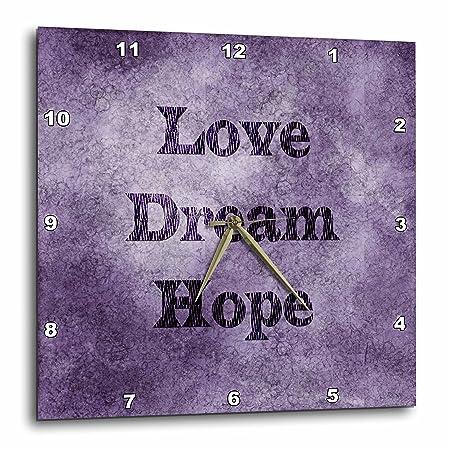 3dRose DPP_59924_1 Purple Love, Dream, Hope Zebra Print Word Art Wall Clock, 10 by 10