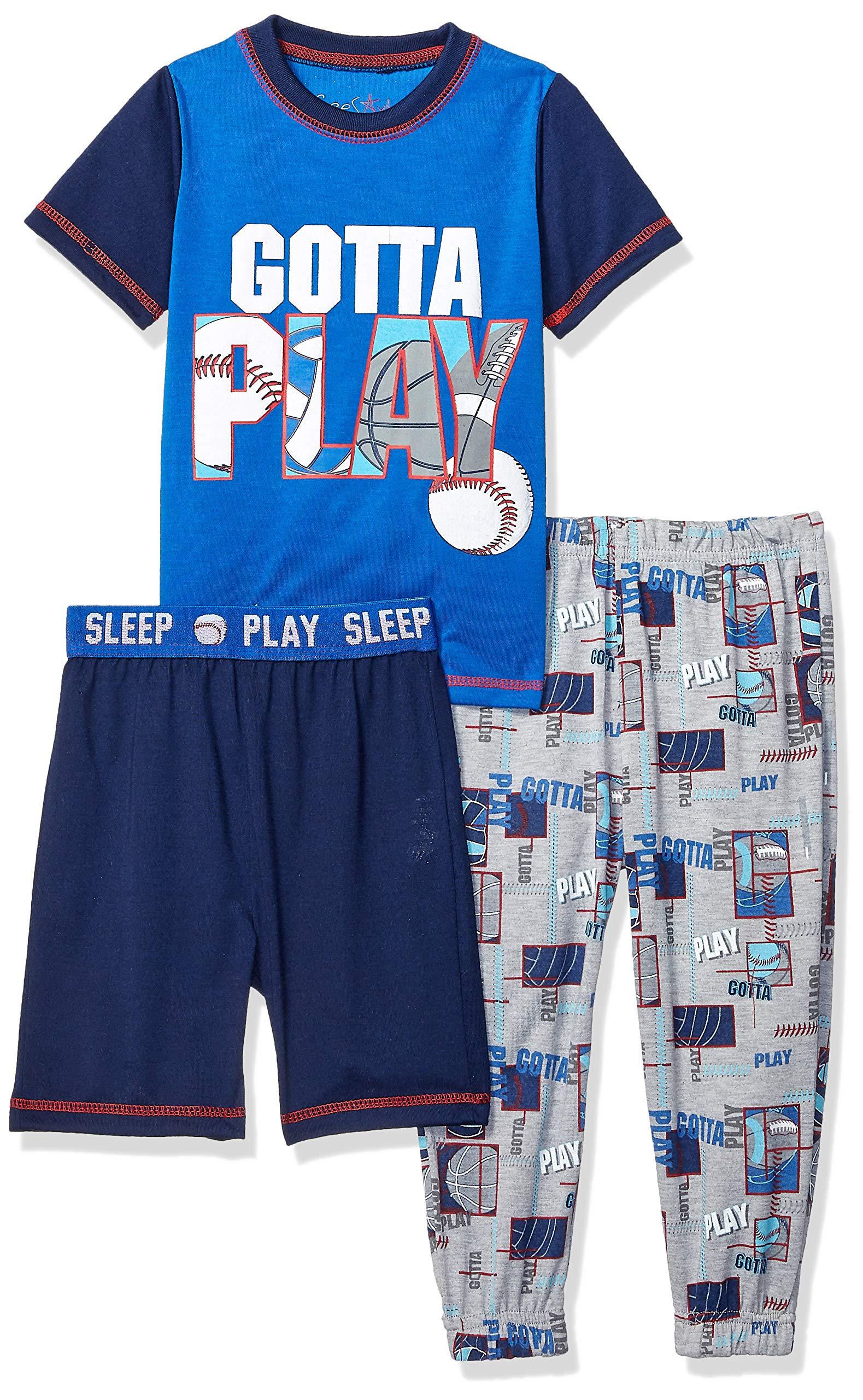 Freestyle Revolution Boys' Little Gotta Play Sleep 3Pc Set T-Shirt, Shorts, Pants, Multi 6