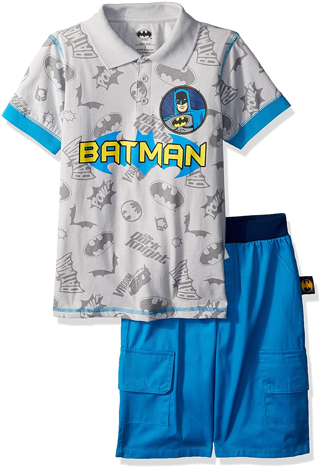 Warner Brothers Boys' Little Batman Polo 2 Piece Short Set Grey 4 8WB8501