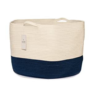 Chloe and Cotton XXXL Extra Large Woven Rope Storage Basket 15 x 21 inch Navy White Handles | Decorative Laundry Clothes Hamper, Blanket, Towel, Baby Nursery Diaper, Toy Bin Cute Collapsible Organizer