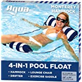 Aqua 4-in-1 Monterey Hammock Inflatable Pool Float, Multi-Purpose Pool Hammock (Saddle, Lounge Chair, Hammock, Drifter) Pool